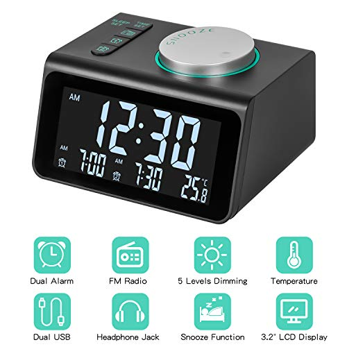 Radio Alarm Clock, Digital Clock Radio Header Clock with Double USB, Temperature Display, Dual Alarms with 7 Alarm Sounds, 5 Adjustable Brightness for Office Travel in Bedrooms