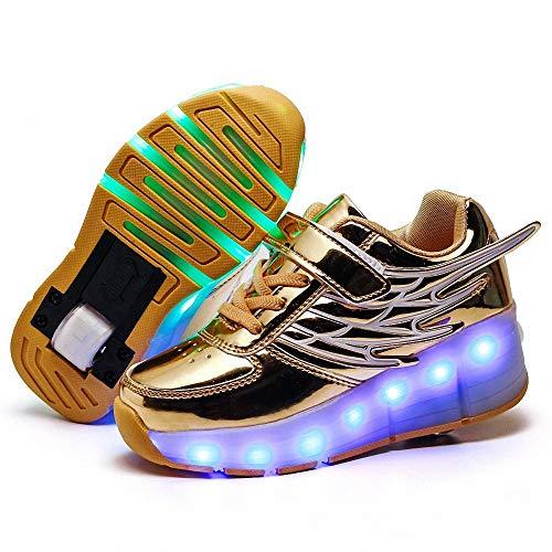 FZ FUTURE Kinder Schuhe mit Rollen, LED Rollschuhe mit Räder, Kinder Leuchtend Rollenschuhe, Flügel-Art Sneaker, 1 Räder für Kinder Mädchen Junge Erwachsene,Gelb,37