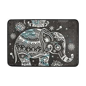 INGBAGS JSTEL Vintage Indian Lotus Ethnic Elephant African Doormat Indoor/Outdoor Washable Garden Office Door Mat,Kitchen Dining Living Hallway Bathroom Pet Entry Rugs with Non Slip Backing