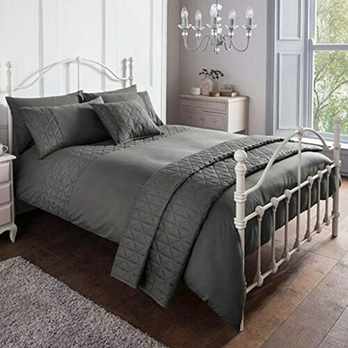 Rammento Duvet Cover Set - Double Polyester Luxury Bedset Super Soft Charcoal Bedding Set