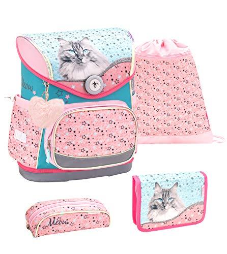 Belmil ergonomischer Schulranzen Set 4 -teilig für Mädchen 1-4 Klasse Grundschule//Brustgurt/Magnetverschluss/Katze/Rosa, Türkis, Pink (405-41 Little Friend Meow)