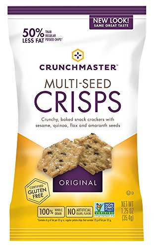 Crunchmaster Single-Serve Multi-Seed Crisps, Original, 1.25 oz (Pack of 1), Non-GMO Project Verified, Certified Gluten and Cholesterol Free, No Artificial Colors or Flavors, by TH Foods