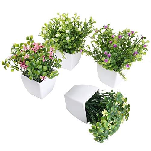 SHACOS 4er Set Künstliche Pflanze Bonsai Kunstpflanze mit weißen Topf, Für Hochzeit/Büro/Zuhause Dekoration, 4 Stück Mini Kunstpflanzen Blumen