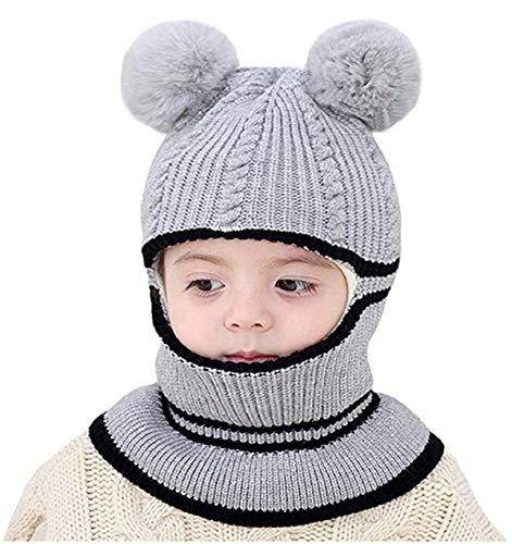 Ruiqas Gorro de Invierno para niños bebés niñas niños Tejido a Prueba de Viento Forro de Lana Capucha con Capucha Gorro de Calavera para 2-5 años (Gris)