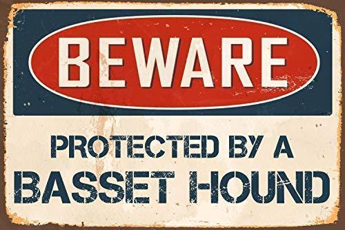 43LenaJon Plaque en métal humoristique « Beware Protected by A Basset Hound » pour homme Cave Garden Street Signs Farmhouse Home Office Decor