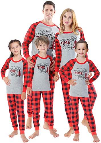 Matching Family Christmas Pajamas Women Men Plaid Tree Sleepwear Boys...