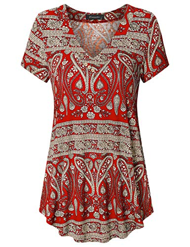 Vinmatto Women's Summer Short Sleeve V Neck Flowy Tunic Top(L,Multi Red)