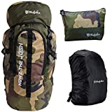 Mufubu Presents 45 Ltr Camouflage Bag || Travel Backpack || Outdoor Sport Camp Hiking Trekking Bag || Camping Rucksack with Rain Cover and Toiletry Pouch for tools and accessories. (Camo Green)