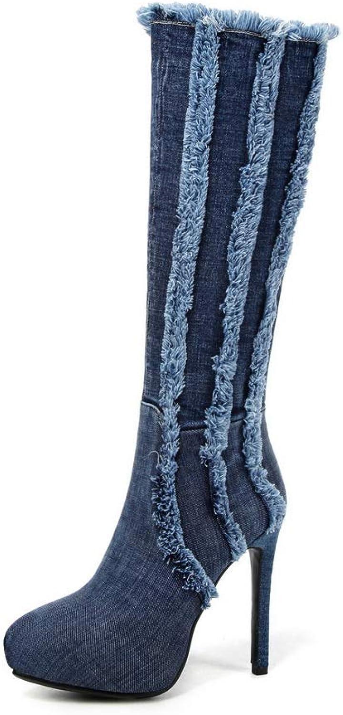 BalaMasa Womens Fringed Platform High-Heel Leather Boots ABM12411