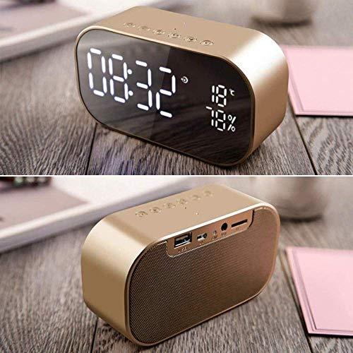 Clock Leuke wekker spiegel leuke wekker recht leuke wekker met FM-radio draadloze Bluetooth luidspreker ondersteuning AuxTfUsb muziekspeler draadloos kantoor LED roségoud