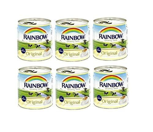 Rainbow Evaporated Milk Full Cream Sterilized 6oz. 170gm each 6 Cans حليب أبو قوس مبخر كامل الدسم افضل صديق للشاي