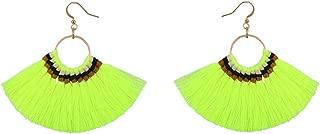 Bohemian Handmade Tassel Vintage Long Drop Earrings Cotton Rope Weave Fringe Sector Jewelry