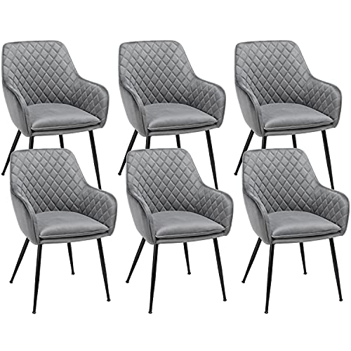 Yaheetech Modern Gray 6pcs Dining Room Chairs Fabric Accent Chairs Upholstered Tub Chairs for Counter Desk or Table Home Kitchen