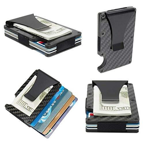 Stainless Steel Men Money Clip Elastic Band Slim Credit Card Holder Wallet Purse (Black)