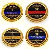 Cuarteto de oro de caviar (4 x 30 gr) Beluga de agua dulce, Oscietra y...