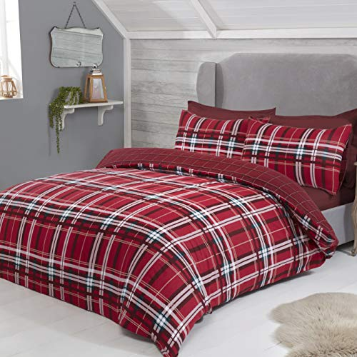 Tartan Check Crisscross Flannelette Brushed 100% Cotton Bedding Duvet Cover & Pillowcases Set - Red - Super King