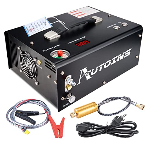 AUTOINS PCP Air Compressor,Auto-shutoff 4500Psi/30Mpa Oil/Water-Free Set-pressure Air Gun and Paintball Tank Pump with Water/Oil Separator,Built-in Power Adapter(110V AC or 12V Car Battery)