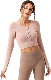 Women's Short Sports Top, Solid Color Round Neck Cardigan Long Sleeves with Chest Pad Fitness T-Shirt, Stretch Slim Yoga Clothes,Soft pink,S