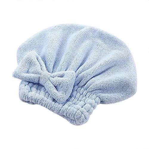 LinZX 2 pièces Dessin animé Super Turban Cheveux Tissus Microfibre Chapeau Cheveux sécher Rapidement enveloppé Serviette de Bonnet de Bain,Blue