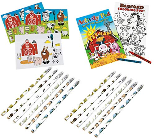 48 Piece Farm Animal Party Favor Set- Activity Books, Crayons, Pencils, and Stickers