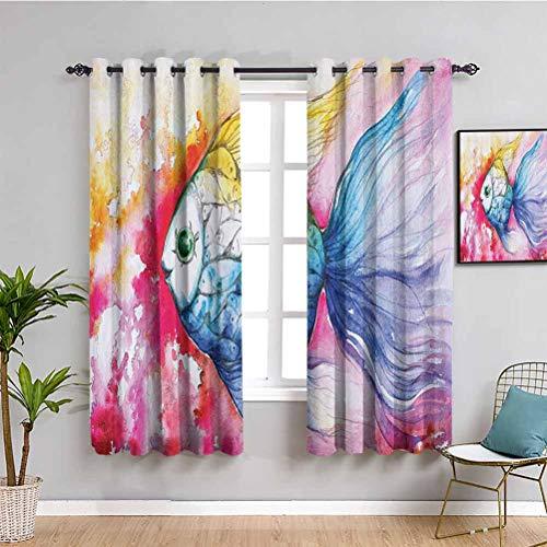 Ocean Animal Decor Room oscureció aislamiento térmico cortina acuarela pintura de peces con grunge vívidos pinceladas concepto náutico para sala de estar o dormitorio Multi W42 x L63 pulgadas