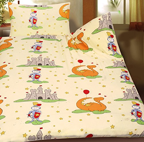 KH-Haushaltshandel Baby Kinder Sommer Bettwäsche 100 x 135 + 40x60 cm, Motiv: Ritterburg, für Kinderbett, Microfaser (42920)