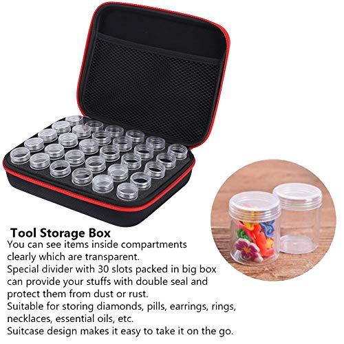 Junluck Diamant-Malwerkzeug Diamant-Stickbehälter, langlebige Diamant-Stickbox, Koffer-Design Heimgebrauch für DIY-Malerei(red)
