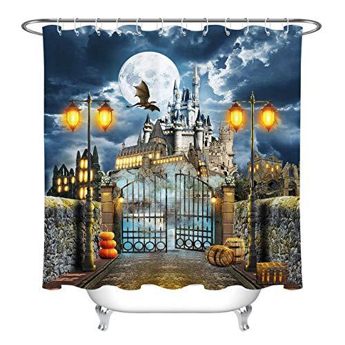 Halloween Fliegender Drache Burgtor Kürbis Duschvorhang für Badezimmer,wasserdichtes & schnelltrocknendes Polyester,hochauflösendes Muster,12Haken,180X180cm,Heimtextilien