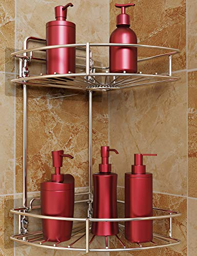 2 Tier Corner Shower Caddy, Vdomus No Drilling Stainless Steel Bathroom Shelf Wall Mounted With Adhesive or Screws