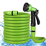 Manguera de Jardín,Flexible 50 FT 15m Manguera de Jardín Manguera de Agua Extensible, Manguera de Riego Retrácti con 8 Patrones de Pulverización de Jardín Ducha de Mano