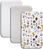 Lovely Hippo Juego de 3 sábanas de 83 x 50 cm, 2 sábanas de Cododo y 1 protector de colchón para cuna Cododo Chicco Next2me (Animales Forestal)