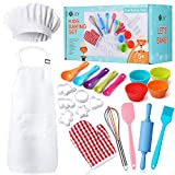 Real Kids Baking Set 32 Pcs Includes Kids Apron, Chef Hat, Oven Mitt, Real Baking Tools - Baking Sets for Children Best Suited Gift for Boys & Girls (for Age 5+)