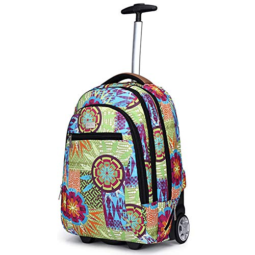 FREETT Student Trolley Backpack, Girl Trolley Suitcase with Wheeled and Laptop Compartment, Lightweight Travel Bag for School Boarding, Multicolored, 35 * 19 * 47 cm