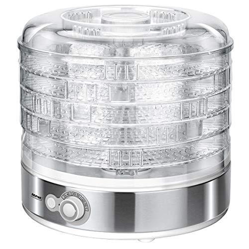 MPM MSG-11 Deshidratador Alimentos, Frutas y Verduras, Control de Temperatura (35°C-70°C), 5 bandejas Libres de BPA de 31cm Ajustable en Altura, 500W