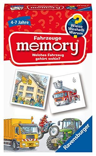 Ravensburger 20647 - Fahrzeuge memory Wieso? Weshalb? Warum? der Spieleklassiker für 2-8 Spieler, Kinderspiel für alle Fahrzeug-Fans ab 4 bis 7 Jahren
