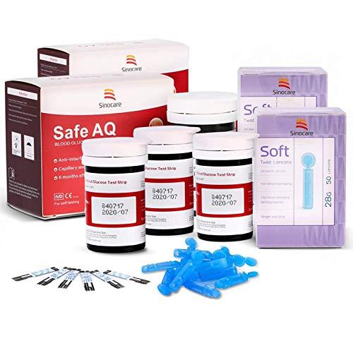 Blutzuckerteststreifen x 100 & Blutzuckertest Lanzetten x 100, Schmerzfrei, Wenig Probenvolumen (0.6μl), Lichtwarnung für Diabetiker, Nur für Safe AQ Smart/Voice