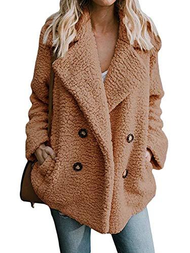 Famulily Women's Cozy Warm Teddy Bear Jacket Oversized Fleece Fuzzy Coat with Pockets Open Front Fluffy Outerwear Khaki Large