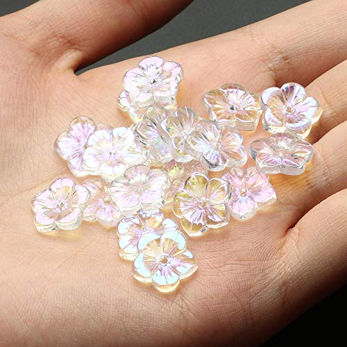 XINTIAN Paquete de 20 cuentas de cristal de color AB con forma de estrella y corazón, cuentas para hacer joyas, collares, pendientes (color: 12 mm, flor de ciruela, diámetro del artículo: 40 unidades)