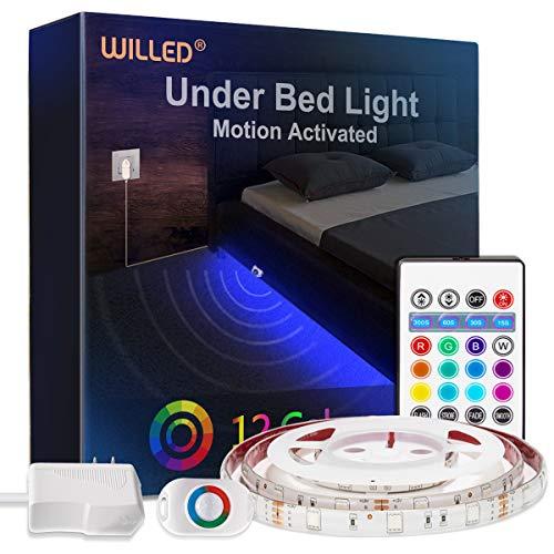 Unter dem Bettlicht, WILLED RGB Farbwechsel 5ft LED-Streifen mit bewegungsaktiviertem Sensor, RF-Fernbedienung Timer, Netzteil für Bett, Treppe, Babybett