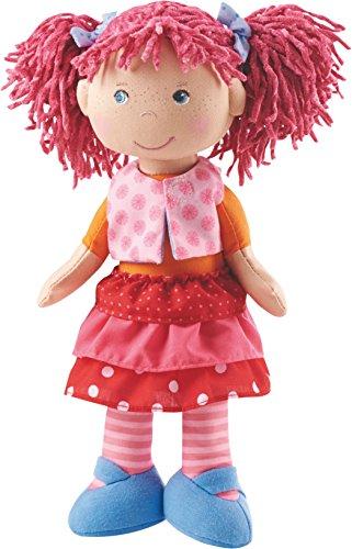 Haba 302842 - pop Lilli-Lou, schattige zachte en stoffen pop vanaf 18 maanden, met kleding en haren, 30 cm