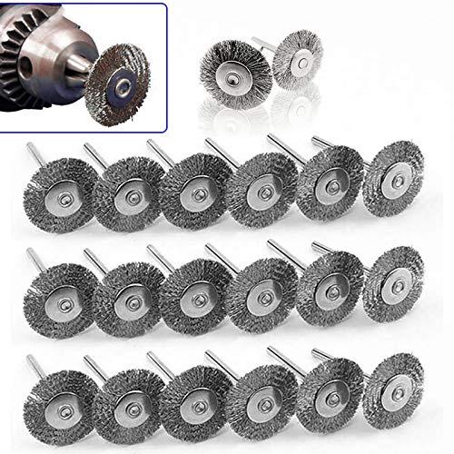 20 piezas brochas rueda alambre acero 22mm quitar