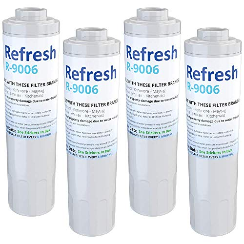 Refresh Replacement for Maytag PUR FILTER 4, Whirlpool EDR4RXD1, Everydrop Filter 4, UKF8001AXX-750, 4396395, PuriClean II, and Kenmore Filters 469006, 46 9006, 9006 Refrigerator Water Filter (4 Pack)