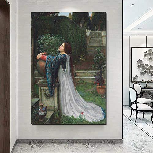 KWzEQ Pensée Fille Impression sur Toile Salon décoration de la Maison Moderne Mur Art Peinture à l'huile Affiche Image,Peinture sans Cadre,60x90cm