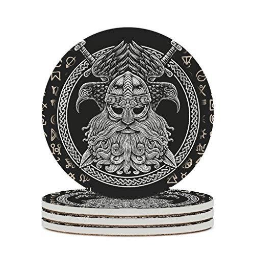 KittyliNO5 Posavasos redondos vikingos Odin con símbolo de cuervos de cerámica, juego de 4/6 piezas, posavasos decorativos con base de corcho para tazas, mesa o bar, cristal, color blanco, 6 unidades