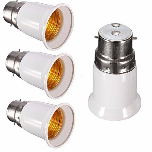BlueXP 4 Piezas Adaptador Convertidor de Bombilla Apto para Bombillas B15 to E27 LED y Lámpara Fluorescente Compacta Casquillo Convertidor para Lámpara