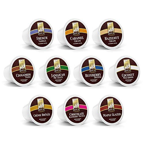 100ct Flavored Variety Pack for Keurig K-cups, 10 Assorted Flavored Single Cups by Bradford Coffee