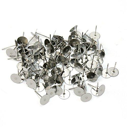 Wadoy Ohrstecker-Rohlinge, versilbert, zum Basteln, 6 mm, 100 Stück