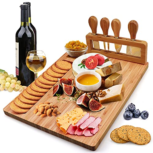 Bamboo Cheese Board Set, Charcuterie Platter and Serving Meat Board