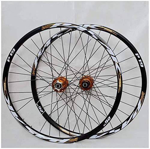 Set di Ruote per Mountain Bike, Ruota per Bicicletta (Anteriore + Posteriore) Doppia Parete Freno a Disco a sgancio rapido cerchione MTB in Lega di Alluminio Cassetta 32H 7-11 velocità,B,29 inch