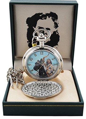 Runde Indianer Taschenuhr Winnetou auf Pferd mit Geschenkbox Lizenzartikel Uhr